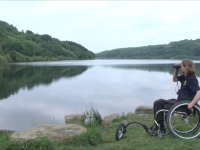 A wheelchair user at Scammonden Water