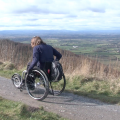 A wheelchair user at Sutton Bank